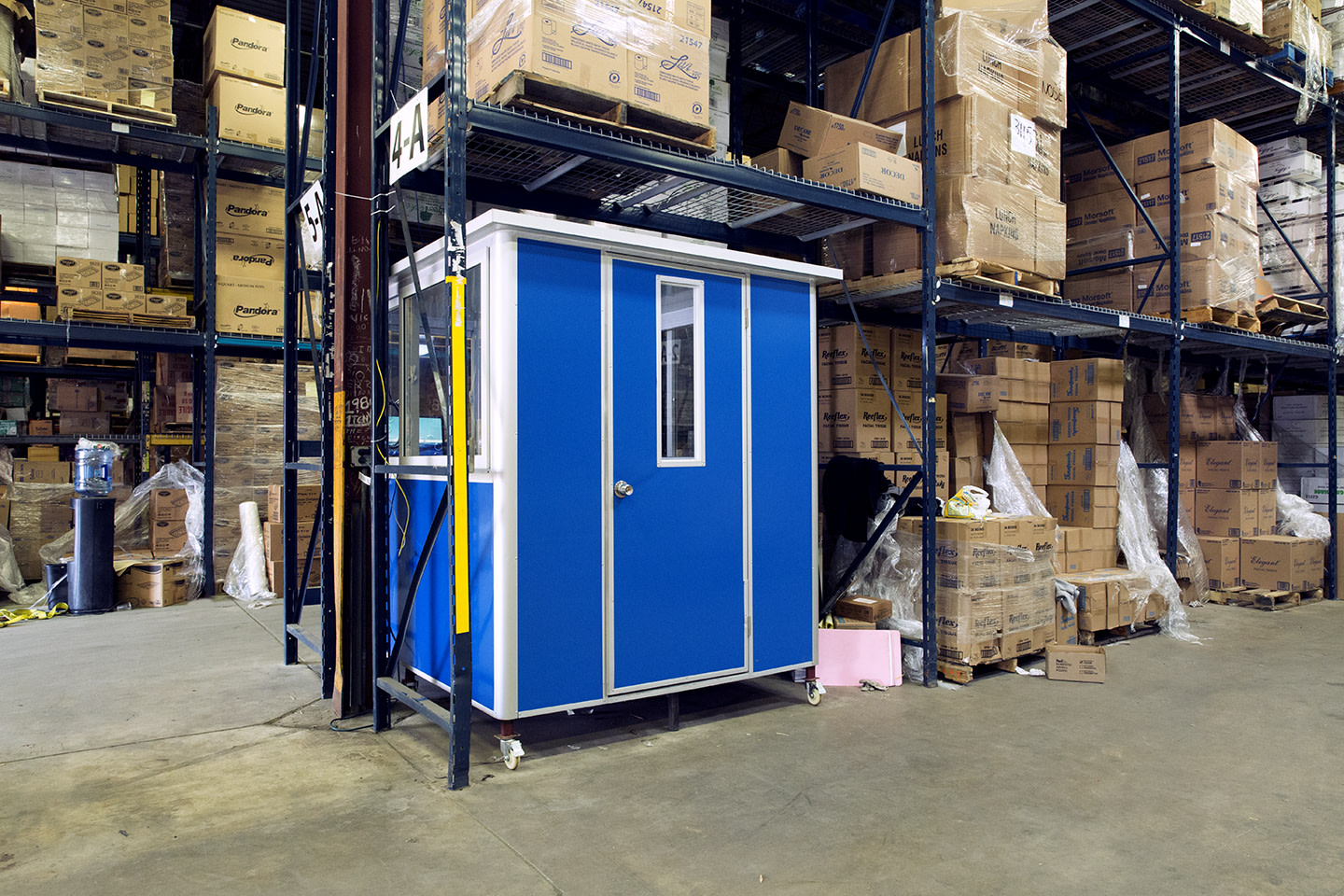 6x8 Modular Office in Albany, NY with Caster Wheels, Swing Door, Sliding Windows, and Baseboard Heaters