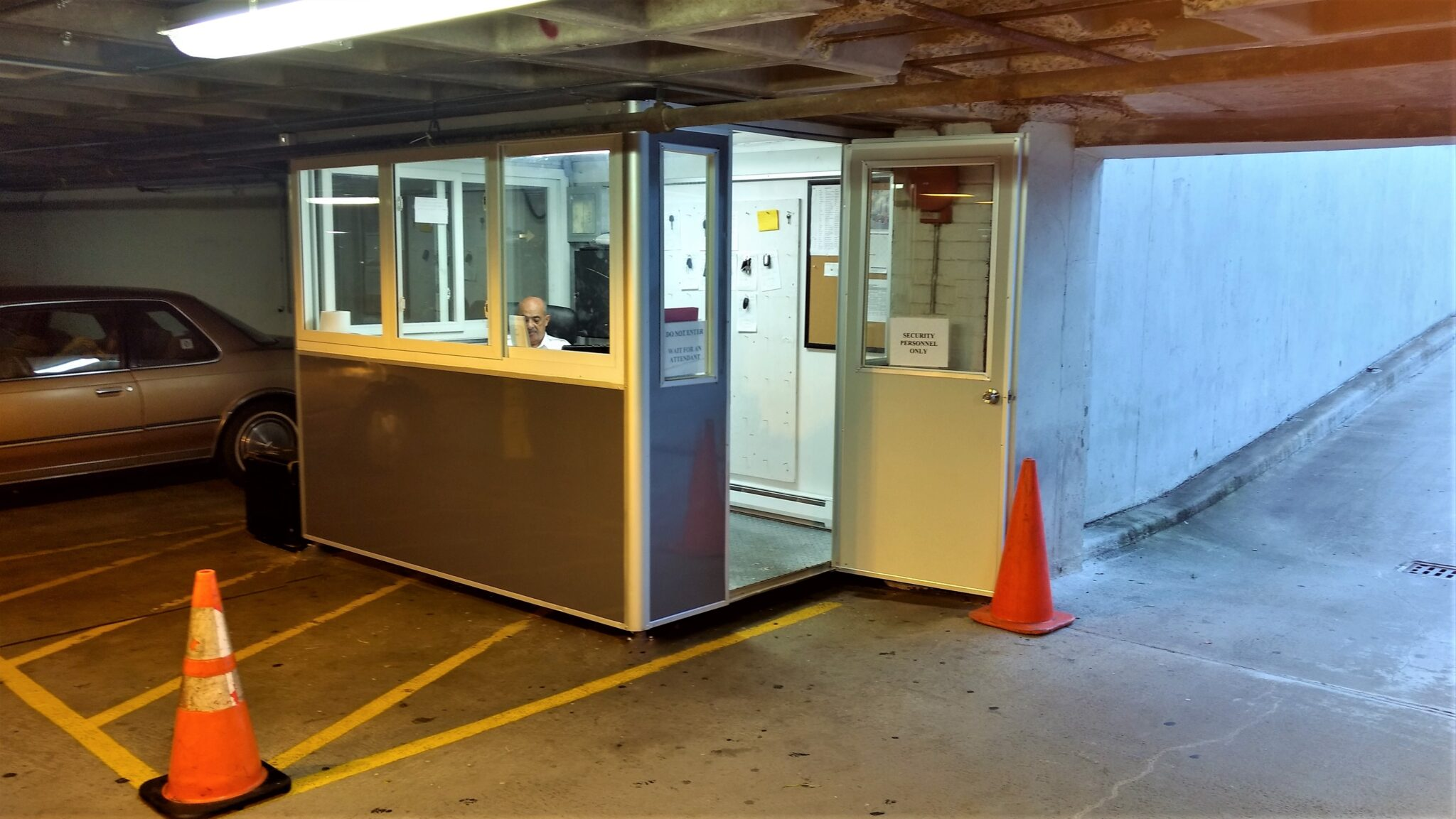 6x8 Parking Booth in Fort Lee, NJ at Condo Parking Garage with Tinted Windows, Key Hooks, and Ethernet Port and Phone line