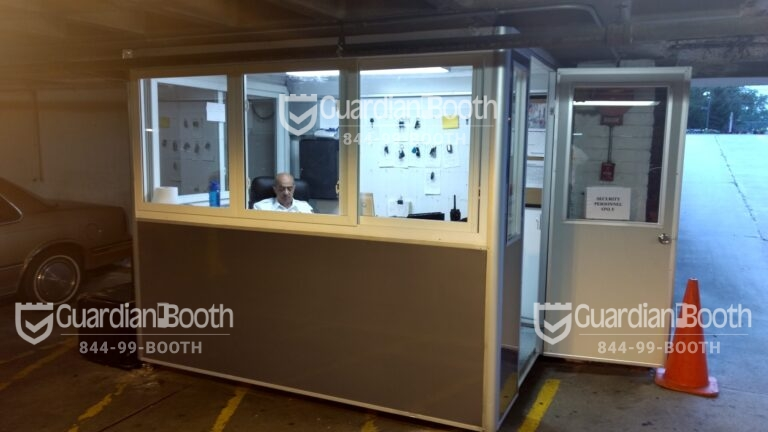 6x8 Parking Booth in Fort Lee, NJ at Condo Parking Garage with Tinted Windows, Custom Exterior Color, Breaker Panel Box, and Swing Door