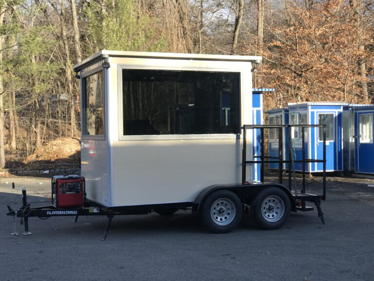 6x8 Portable Trailer Booth in Fort Smith, AR with Generator, Level 3 Bullet Resistant Tinted Glass, Custom Experior Vinyl Wrap