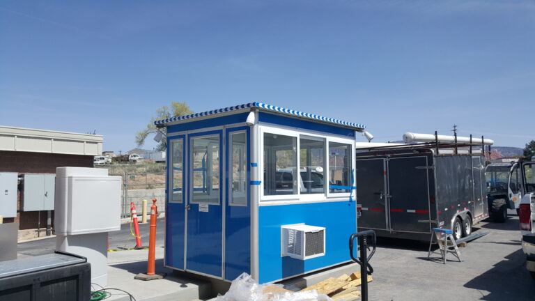 6x8 Security Guard Booth in Cedar City, UT with Outside Spotlights, Anchoring Brackets, Built-in AC and Baseboard Heaters