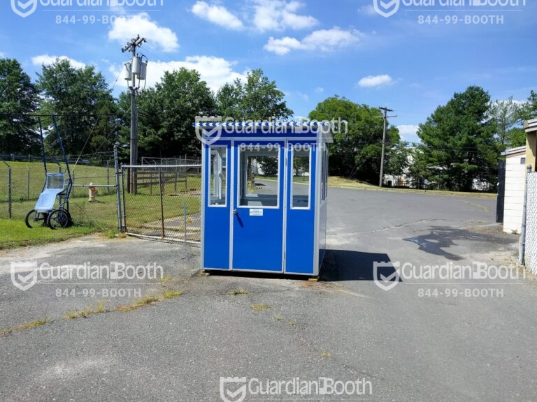6x8 Security Guard Booth in Freehold, NJ with Extra Desk, Breaker Panel Box, Baseboard Heaters, and Built-in AC