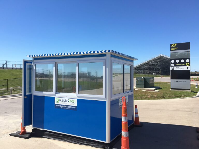 6x8 Ticket Booth in Austin, TX with Tinted Windows, Built-in AC, and Swing Door