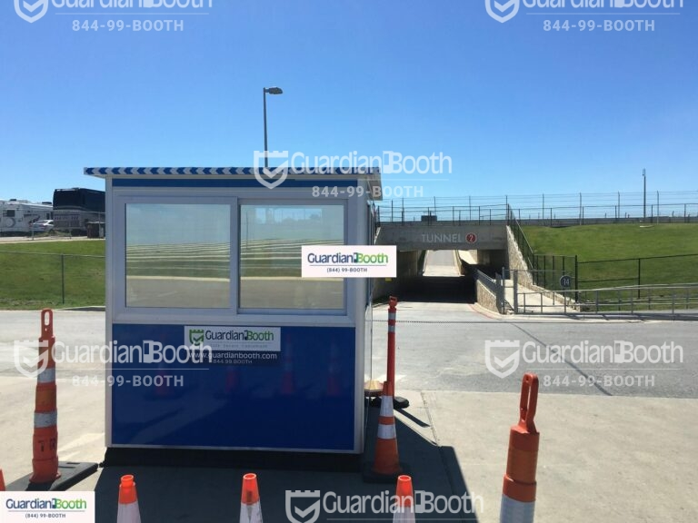 6x8 Ticket Booth in Austin, TX with Tinted Windows, Sliding Windows, and Perimeter Security Fencing
