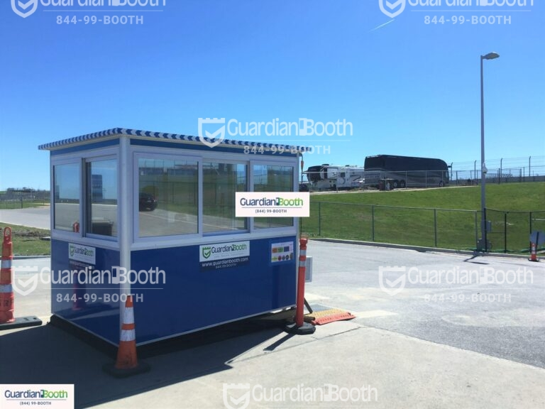 6x8 Ticket Booth in Austin, TX with Tinted Windows, Built-in AC, Sliding Windows, and Swing Door
