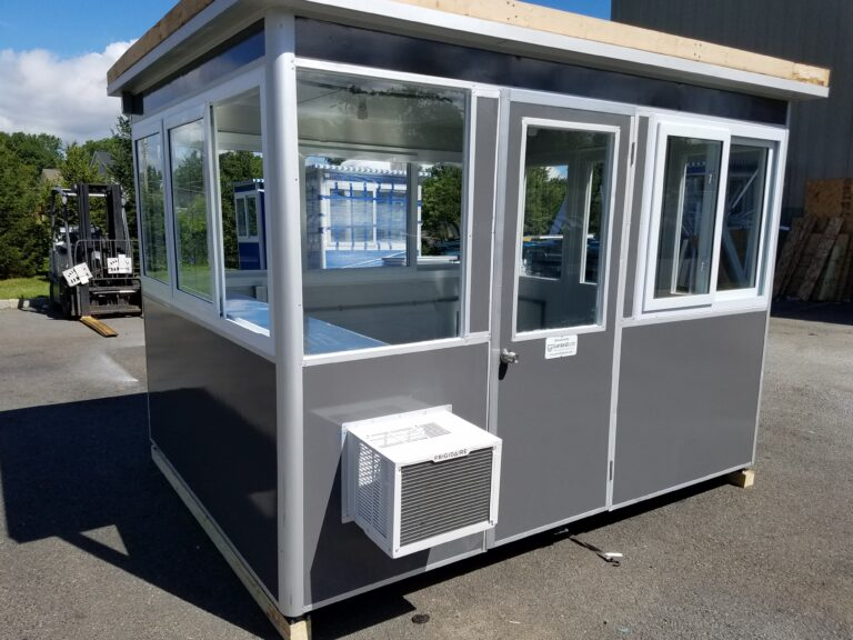 8x10 Airport Security Booth in Charlotte, NC with Built-in AC, Baseboard Heaters, Swing Door, Exterior Color Change