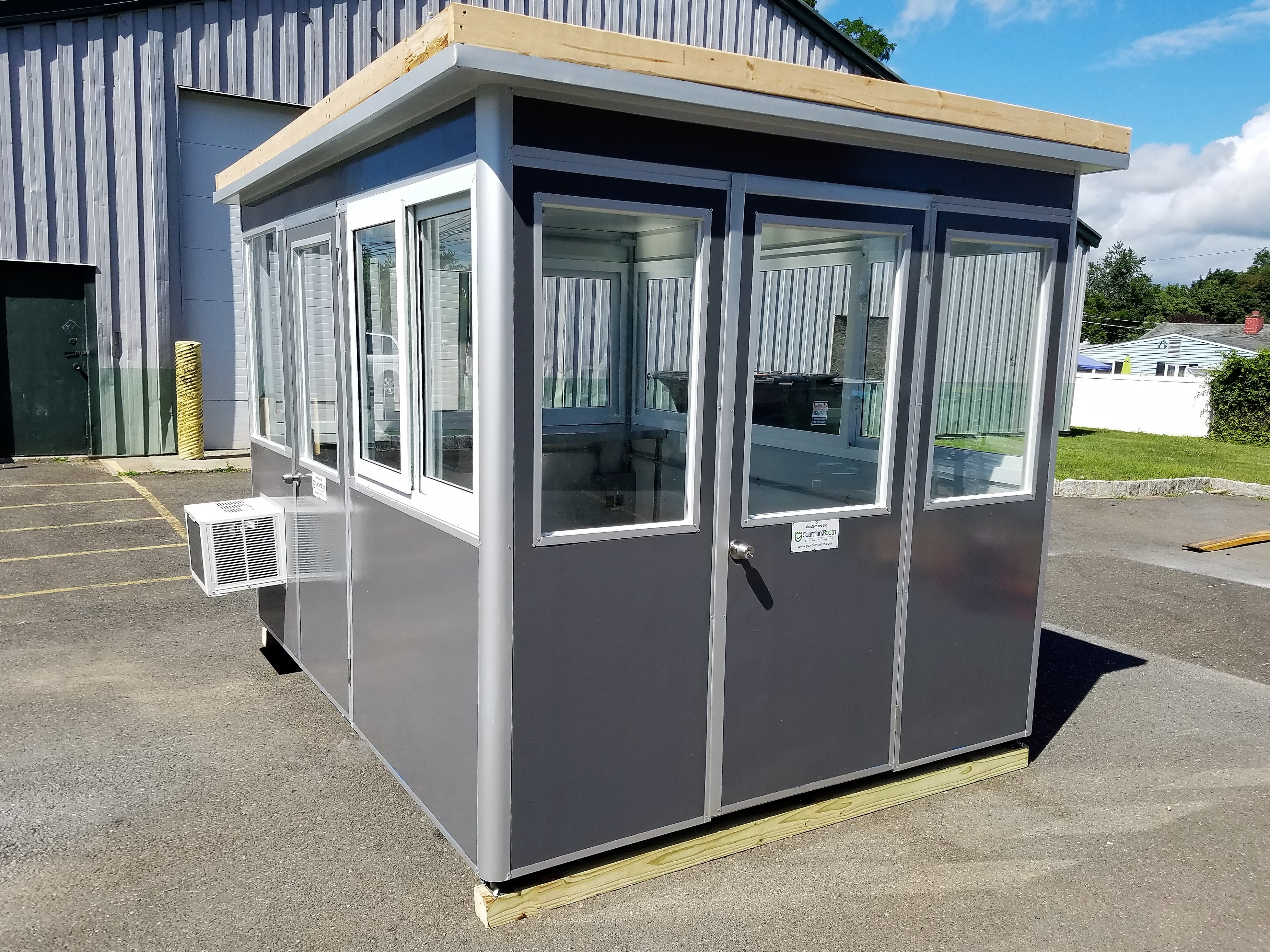8x10 Airport  Security Booth in Charlotte, NC with Custom Exterior Color, Sliding Windows, Extra Outlets