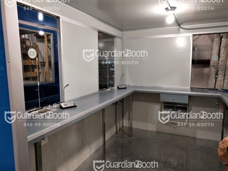 8x10 Booth with Add-on Features Ticket Transaction Windows, Speakers, Extra Desk, Cash Drawer, and Cash Slot
