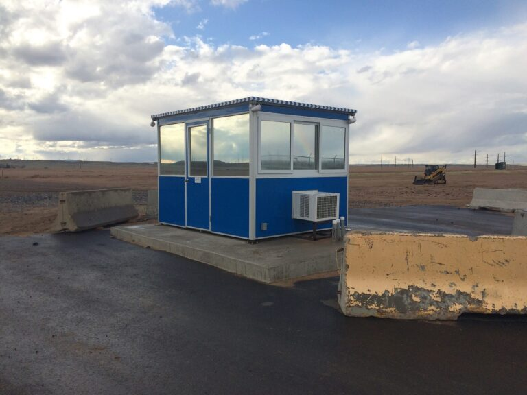 8x10 Construction Site Booth in Cheyenne, WY with Tinted Windows, Outside Spotlights, Breaker Panel Box, and Built-in AC