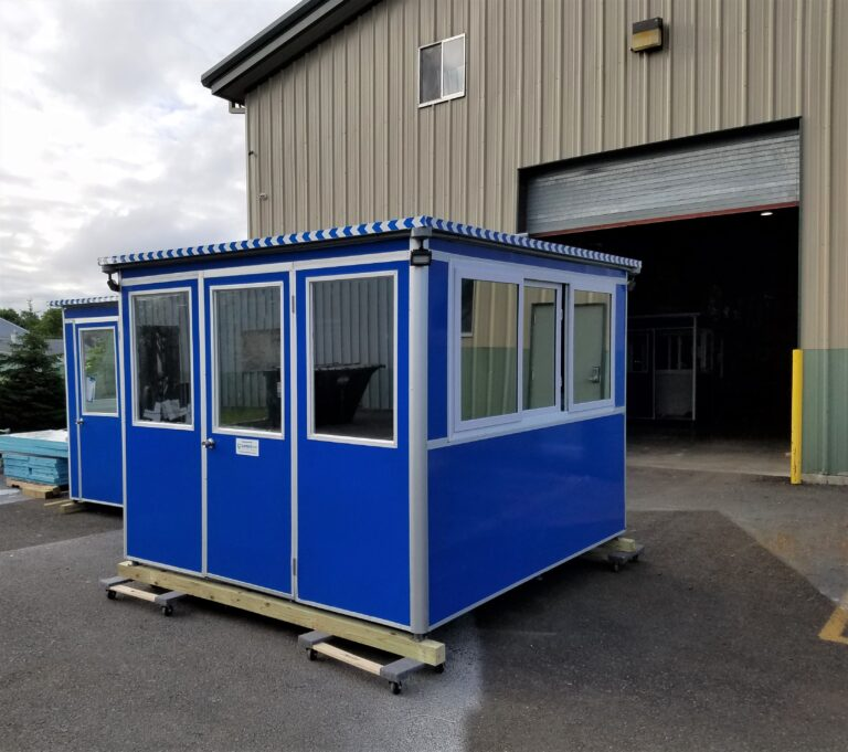 8x10 Security Guard Booth in Bensalem, PA with Tinted Windows, Outside Spotlights, and Swing Door
