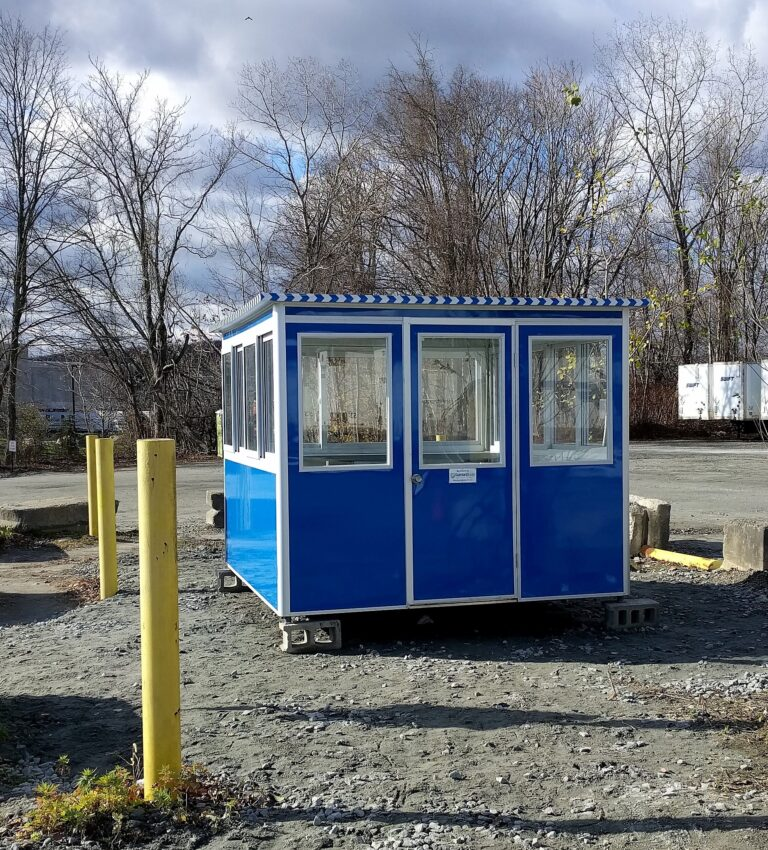 8x10 Security Guard Booth in Wharton, NJ with Sliding Windows, Swing Door, Built-in AC, Baseboard Heaters, and Breaker Panel Box