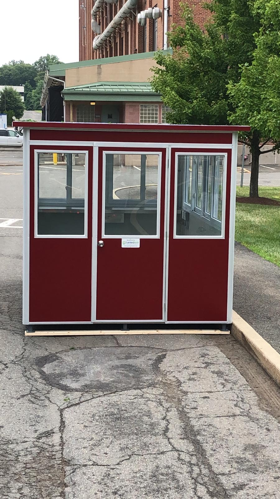 8x12 School Security Booth in Brooklyn, NY with Exterior Custom Vinyl and Custom Windows