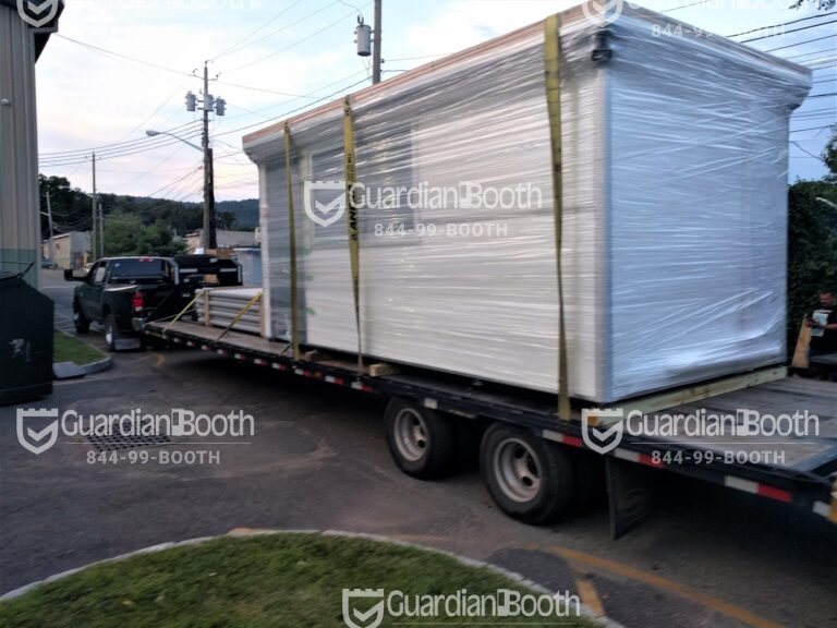 8x16 Booth ready for Delivery in Laredo, TX with Sliding Door and Outside Spotlights