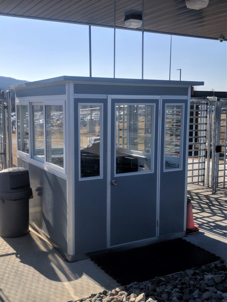 8x8 Security Guard Booth in Macungie, PA outside a Plant with Custom Exterior Color, Built-in AC, Breaker Panel Box