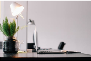 A desk with a computer, lamp, and plant