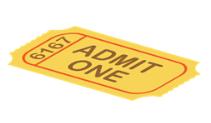 An admit one ticket