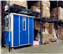 Blue booth in warehouse