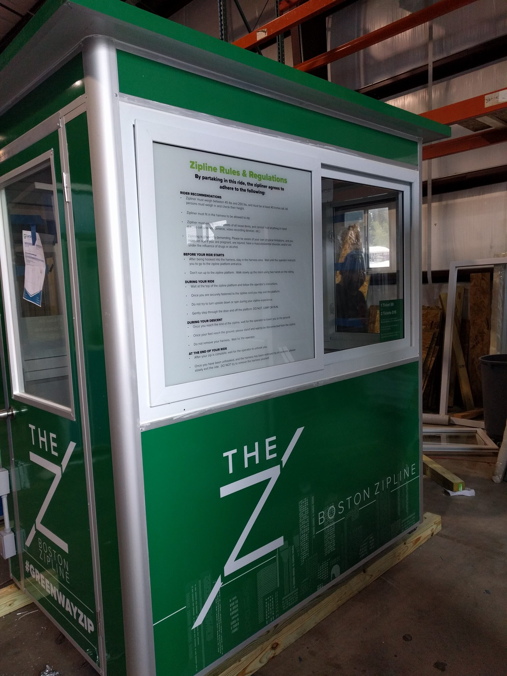 Booth with Add-on Feature Custom Graphics and Sliding Windows