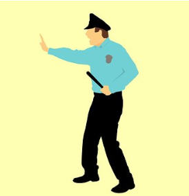 Drawing of security guard with arm extended