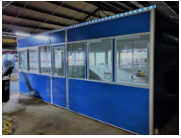 Large blue modular office with seven windows