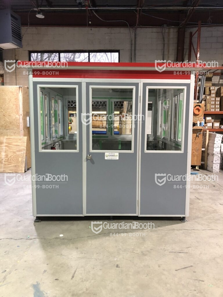 Color Matte Gray Aluminum and Matte Red Roof Trim Wrap, 8x10 Entrance Gate Booth in Portland, OR