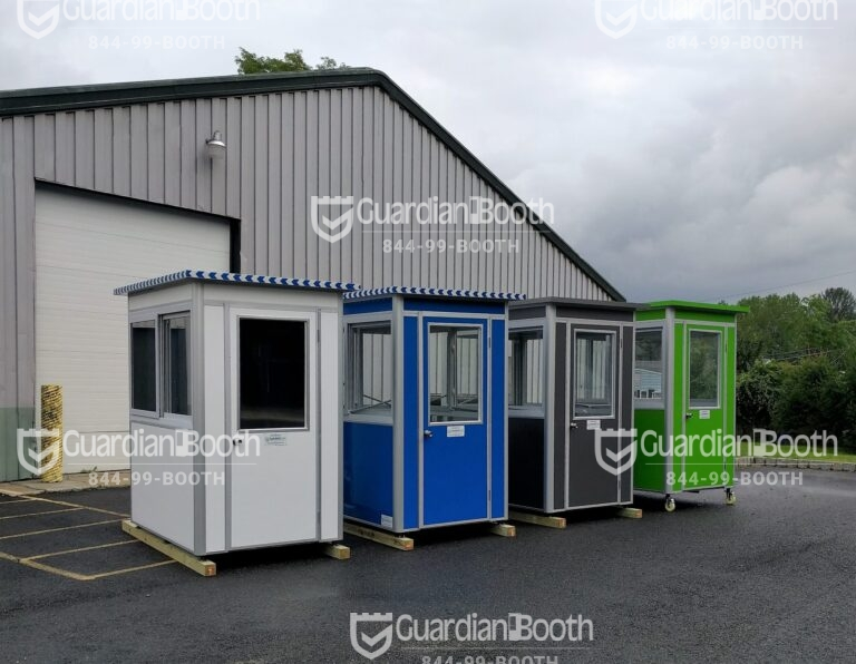Colors Matte White Luster and Guardian Blue and Matte Gray and Aluminum and Gloss Kelly Green, 4x6 Entrance Gate Booth in New York, NY