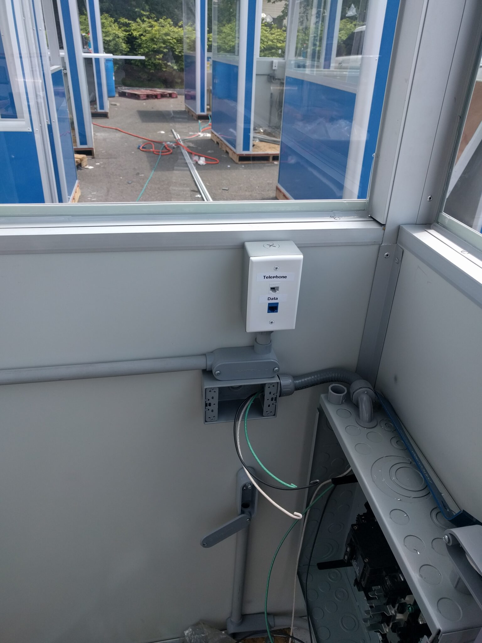 Data Port and Phone Line and Electric Panel Box, 6x8 Entrance Gate Booth in Essexville, MI
