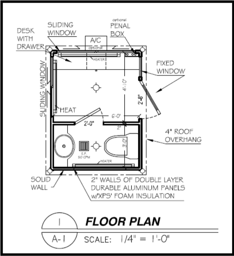 Guard shack floor plan with restroom