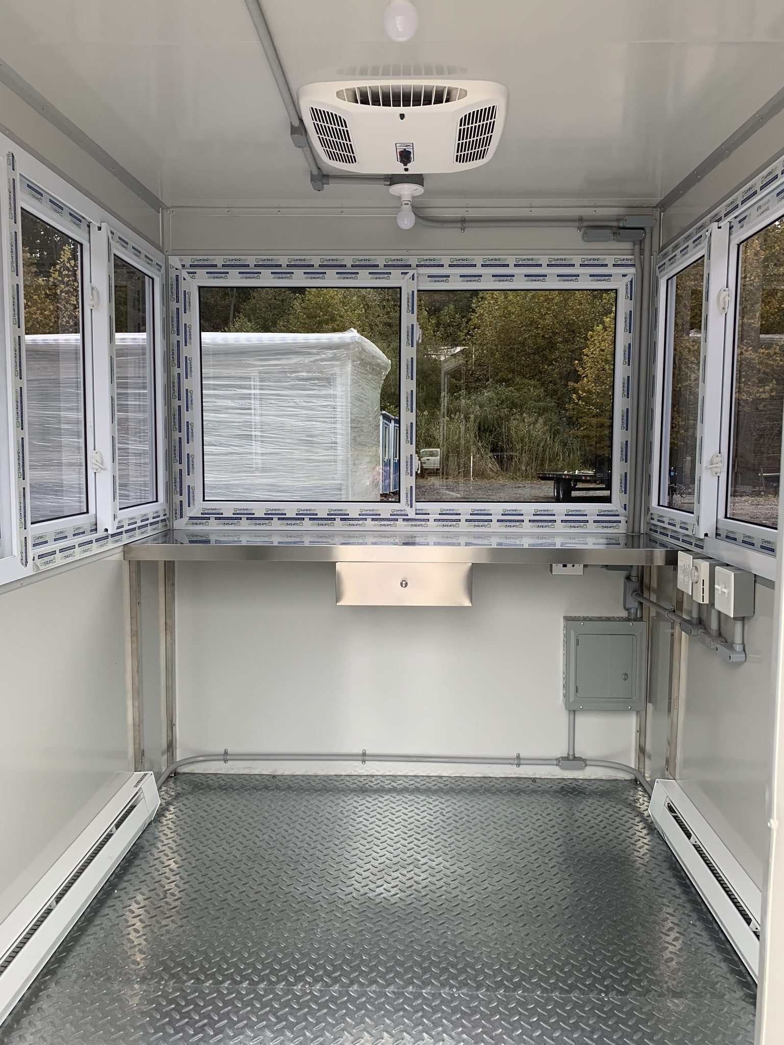 Heat and Rooftop Air Conditioner, 6x8 Hospital Security Booth in Brighton, MA