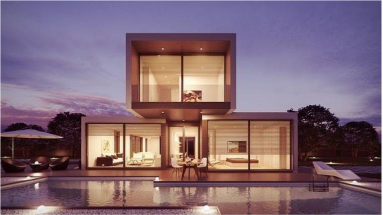 Modular home next to pool