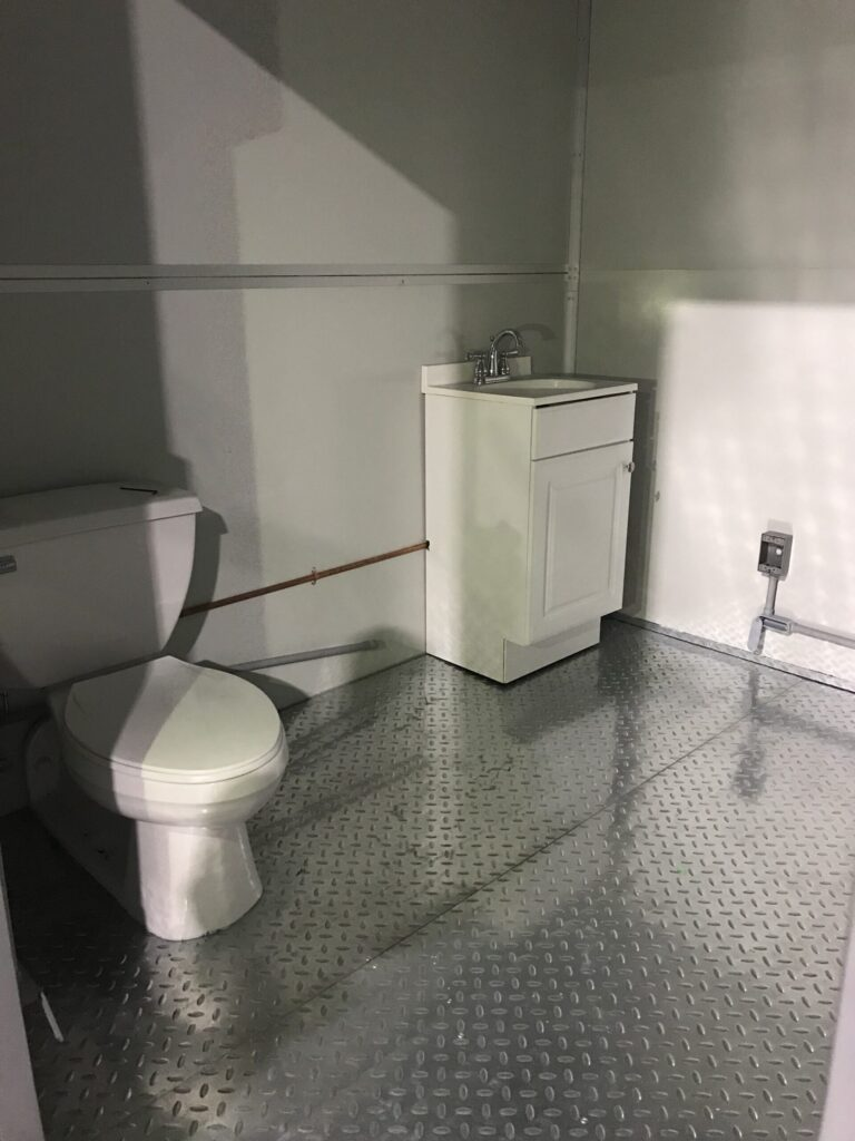 Sink and Toilet, 8x16 Modular Office Booth in Tampa, FL