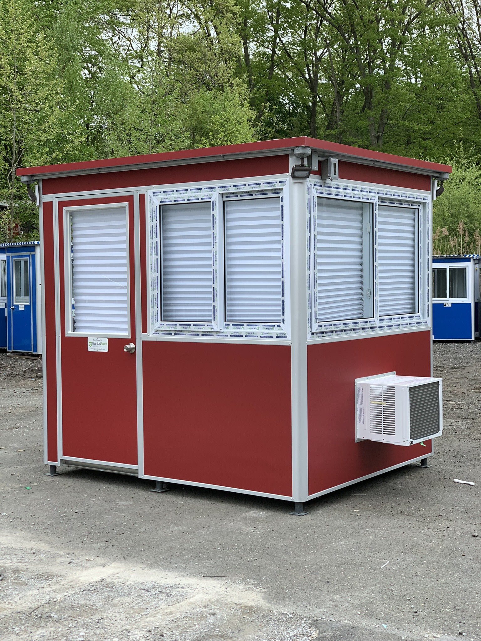 6x8 Entrance Booth in Oklahoma City, Ok with Air Conditioner and Sliding Windows and Outside LED Spotlights and Exterior Duplex Ethernet Port and Phone Line