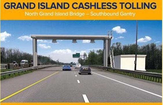 Cashless tollbooth on North Grand Island Bridge