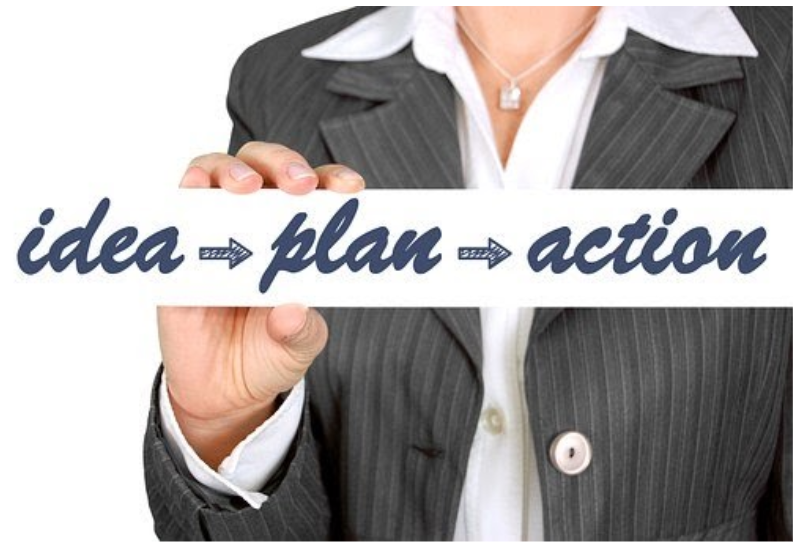 Woman holding words ideas-plan-action