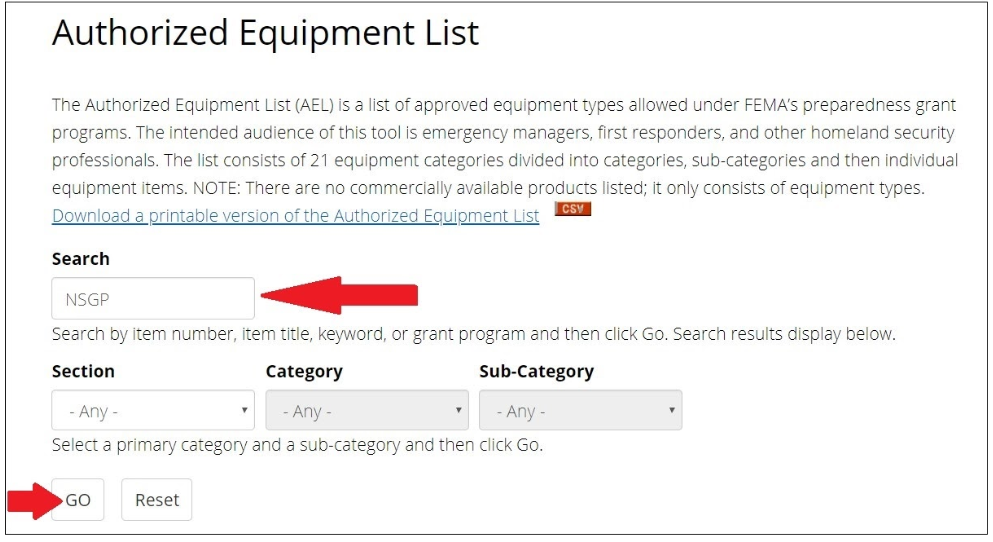Authorized Equipment List for NSGP's school and church security grants