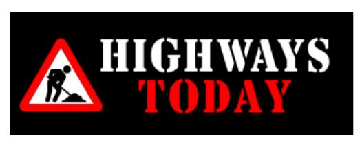Highways today logo with symbol of man shoveling asphalt