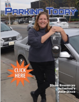Parking Today magazine cover with woman by parking meter