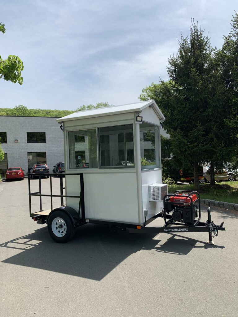 4x6 Trailer Booth in Orlando, FL with Custom Gable Roof, Outside LED Spotlights and Generator