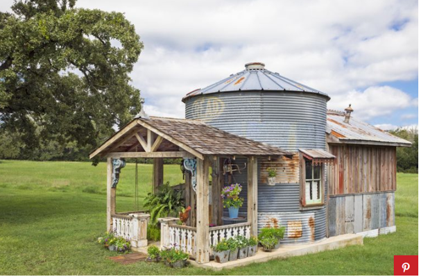 Unique she shack with grain silo