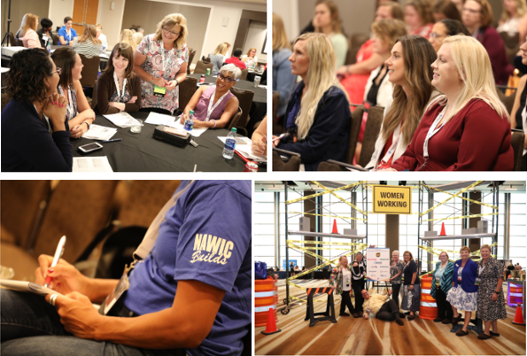 Four pictures of people at a construction conference