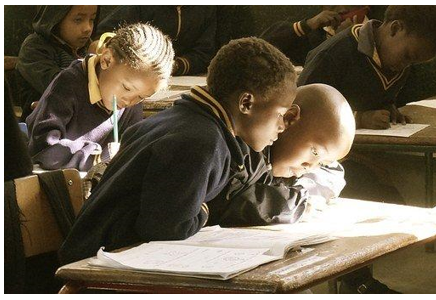 Kids taking a test
