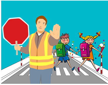 School crossing guard with kids