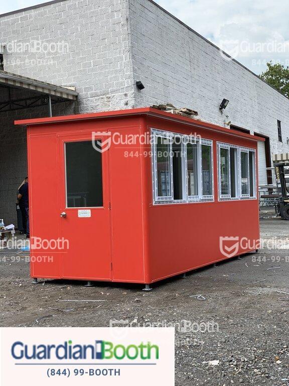 6x16 Ticket and Cashier Booth in San Antonio TX with Custom Doors with Fixed Window, Custom Vinyl Wrap, AC