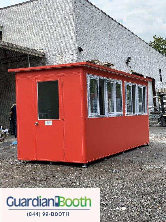 6x16 Ticket and Cashier Booth in San Antonio TX with Custom Doors with Fixed Window, Custom Vinyl Wrap, AC