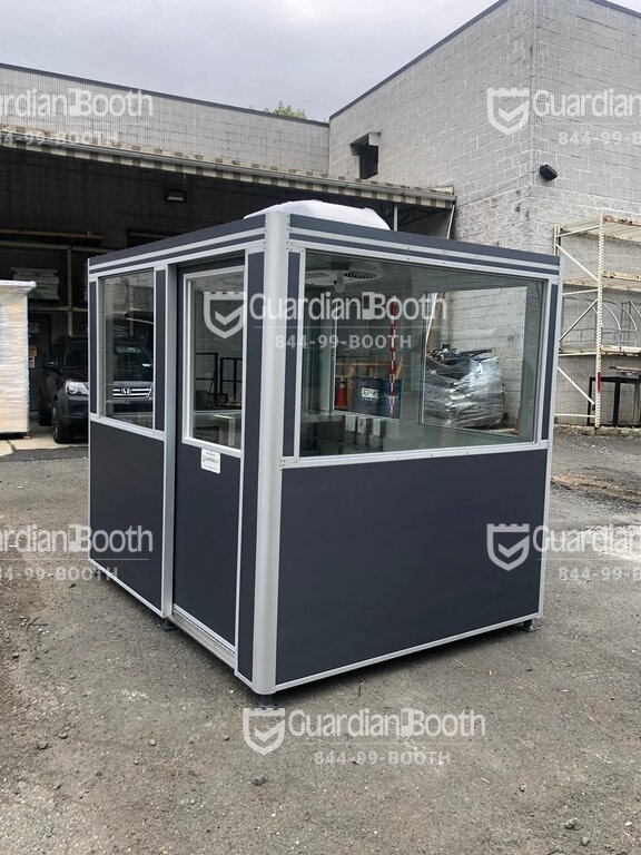 6x8 Security Guard Booth in Jersey City NJ with Fixed Sliding Windows, Rooftop HVAC, Custom Vinyl Wrap