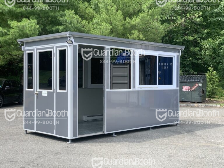 7x14 Construction Site Booth in Franklin IN with Sliding Door with Fixed Window, Tinted Windows, Custom Vinyl Wrap, Outside Spotlights, Exterior Panel Box, Anchoring Brackets 2