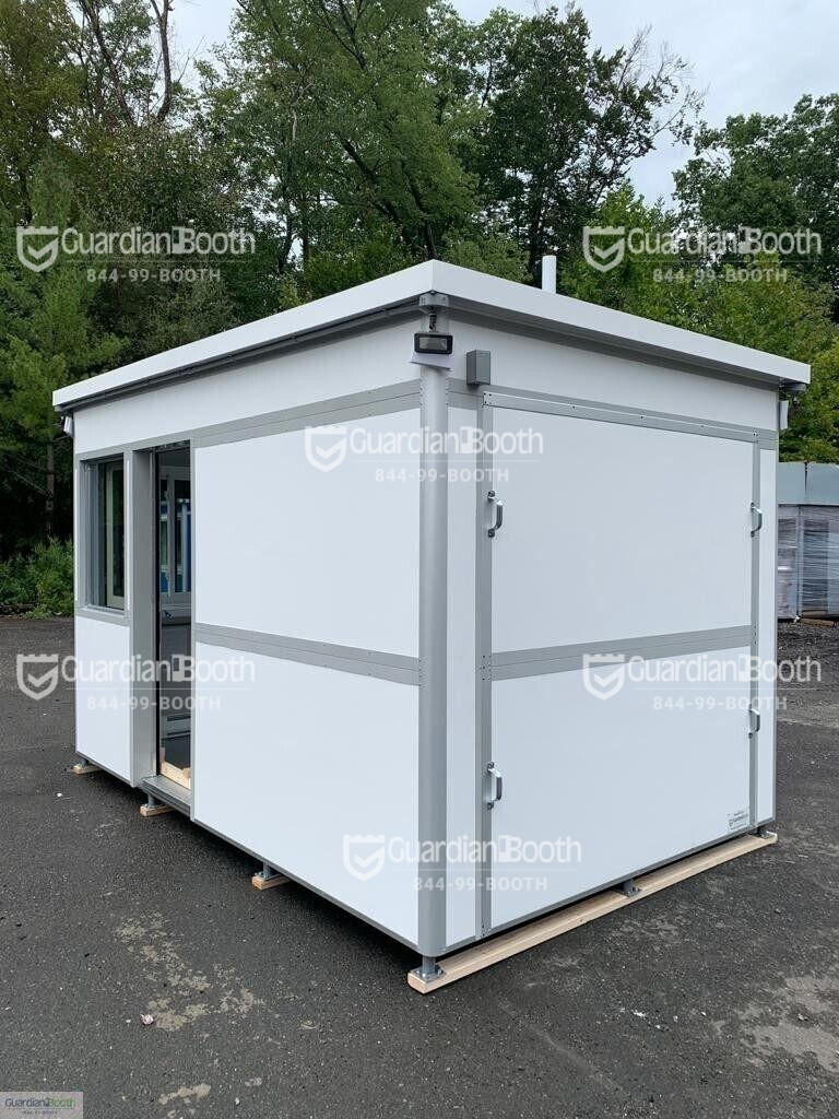 8x12 Security Guard Booth in Springfield, OH with Siding Doors, Custom Exterior Wrap, Restroom, Safety Package, Breaker Panel Box and Built-in AC 2