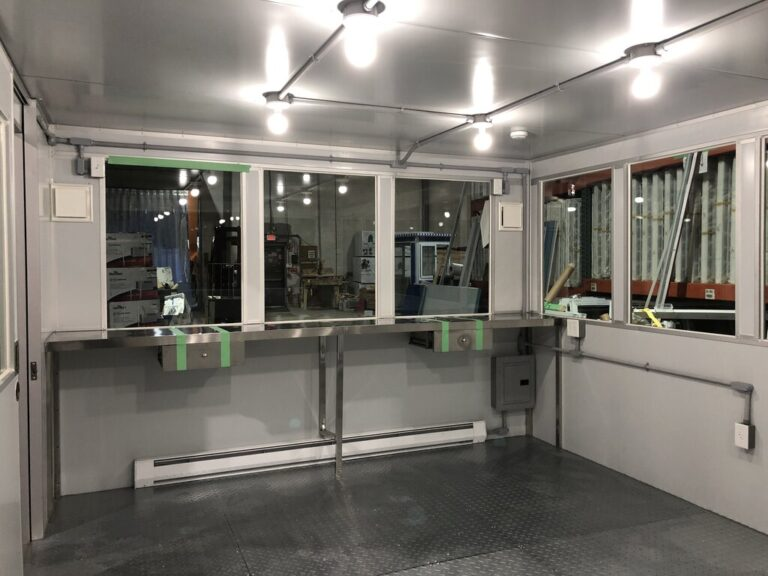 8x16 Modular Office in Turlock, CA with ADA Compliant Sliding Door, Interior View of Custom Desk, Baseboard Heaters
