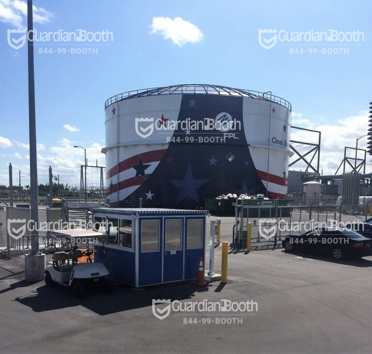 8x8 Entrance Gate Booth in Ft Lauderdale, FL with Custom Exterior Vinyl Wrap,Sliding Windows, AC, Tinted Windows