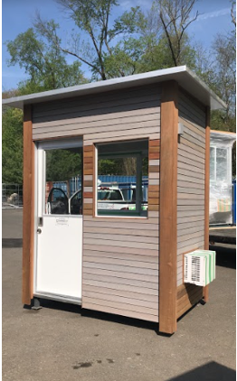 Brown prefabricated portable building